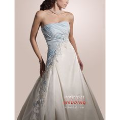 A-line Strapless Chapel Trailing Ivory Taffeta With Appliqued Lace Up Back Bridal Gowns Light Blue Wedding Dress, Colored Wedding Dresses, Blue Dresses, Bridal Gowns, Wedding Gowns, Bridal Outfits, Popular Wedding Dresses, Strapless Dress Formal, Wedding Ideas