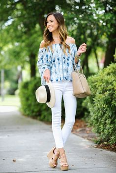 PRINTED OFF-THE-SHOULDER TOP + PANAMA HAT | Sequins & Things