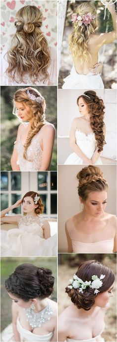 wedding hairstyles for long hair – half up half down, updos and braids - All For Bridal Hair Wedding Hairstyles For Long Hair, Wedding Hair And Makeup, Bride Hairstyles, Pretty Hairstyles, Bridal Hair, Hair Makeup, Hair Wedding, Brunette Hairstyles, Hairstyle Wedding