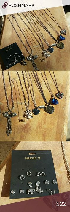 Misc jewelry. 6 long, fun necklaces, 1 short/average size chain. 7pair of earrings. Jewelry