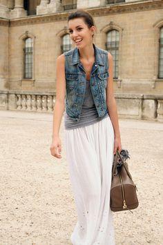 Denim vest + long skirt