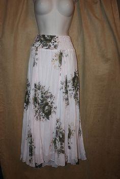 Womans Size L Sheer Floral Crinkle Skirt Blush,Olive Lined Elastic Waist NEW | eBay
