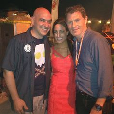 Our video editor @Jen Stone with #BobbyFlay and #MichaelSymon at #SOBEWFF's #BurgerBash