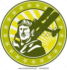 Illustration of a vintage world war one pilot airman aviator bust with spad biplane fighter planes, sunburst and stars in background set inside circle done in retro style. Floating Head, Air Festival, World War One, One Pilots, Veterans Day, Memorial Day, Retro Fashion, Aviation, Retro Style