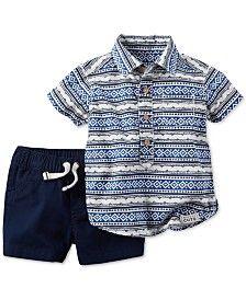 Carter's Baby Boys' 2-Pc. Mixed-Print Shirt & Shorts Set