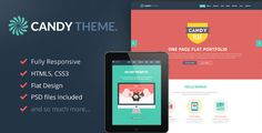 Candy - Onepage Flat Responsive WordPress Theme by jellythemes Candy is minimal & flat responsive Wordpress One Page Template, perfect to promote your portfolio. With a responsive design it is