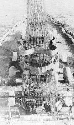 Base of USS Arizona's (BB-39) cage mast before the search lights were placed.