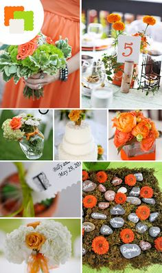 Green and orange wedding colours