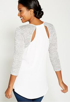 pullover with chiffon and embellished neckline - maurices.com