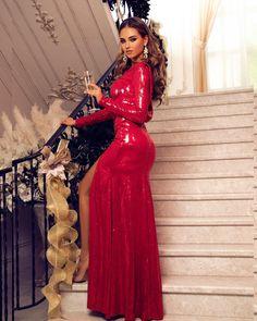 eed999a8bb6 Блестящее вечернее платье в красном цвете с открытой спиной Модные Платья