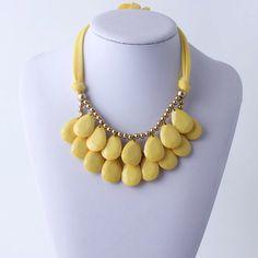Yellow  Necklace, Bib Necklace, Yellow Statement Necklace, Tear Drop Necklace, Statement Necklace
