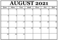 Calendar 2019 Printable, August Calendar, Excel Calendar, 2021 Calendar, Blank Calendar Pages, Monthly Calendar Template, Monthly Calendars, Fillable Calendar, Free Printable