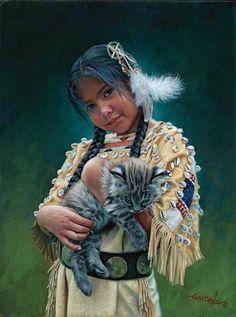 indiazinha americana com gatinho