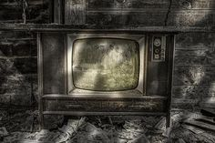 No One's Watching!  The old vintage television found inside an abandoned apple barn by Gary Heller