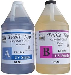 Epoxy Table Top Resin, 1:1, 1 Gallon Kit, Crystal Clear,