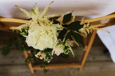 Chair Flowers Backs Decor Fun Town Hall Countryside Gardens Cat Wedding http://www.allymphotography.com/ #weddingchairs #weddingflowers