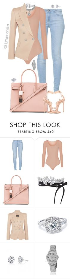 """""""Untitled #2700"""" by highfashionfiles ❤ liked on Polyvore featuring Zara, Wolford, Yves Saint Laurent, Fallon, Balmain, Bliss Diamond, Harry Kotlar, Rolex and Dsquared2"""