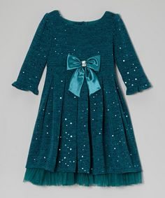 Take a look at this Teal Glitter Knit Dress - Toddler & Girls by Sweet Heart Rose on #zulily today!