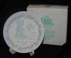 MERRY CHRISTMAS DEER - 1988 Precious Moments - Mini Porcelain Plate