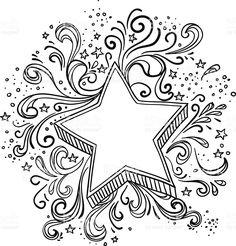 Ornate star in black and white Lizenzfreies vektor illustration