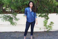 Chambray denim button up shirt from Kmart. fall 2015 fashion. Adriana Michelle, Latina, Fashion Blogger