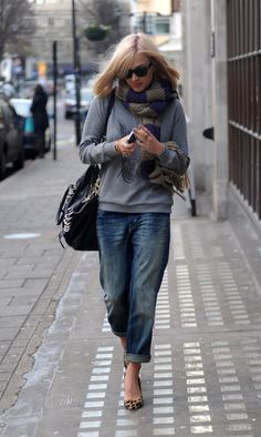Comfy with cute shoes and I love those rolled up jeans . . and that sweater, and . . . .