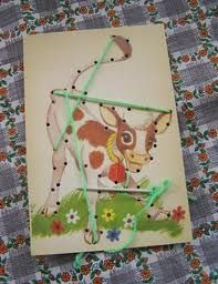 learn to sew lace up cards-me and my sister both loved these