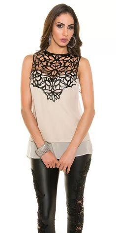 Béžový dámský top s aplikací Women, Fashion, Pants, Blouses, Moda, Women's, Fashion Styles, Woman, Fasion