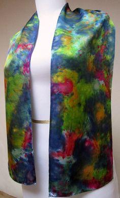 Silk scarf Handpainted blue multi unique gift under by Silkworth
