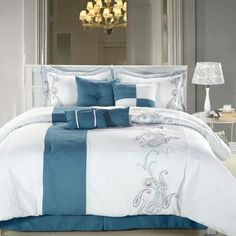 Chic Home Ann Harbor 8-Piece Comforter Bedding Set, Blue/...…
