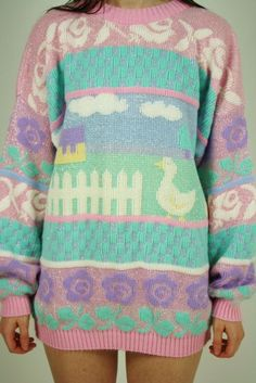 Fairy Kei Duck Sweater #kawaii.... i am almost positive we had a sweater like this as kids... reminds me of a magnet mom has @paisleypeasant