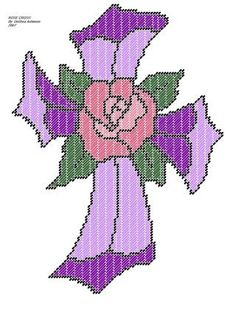 Printable Plastic Canvas Christmas Patterns | Free Stuff: Homemade Plastic Canvas Pattern-ROSE CROSS - Listia.com ...