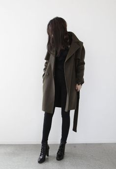 Forest green coat | black outfit | booties