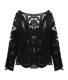 Black Crochet Lace Mesh Long Sleeve Blouse
