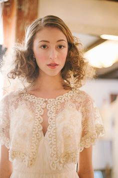 Vintage Lace Wedding Gown Capelet   photography by http://www.michellegardella.com/