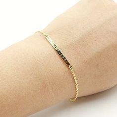 16K Gold Your Name Bar Bracelet - $20