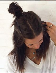 Lovely hair - Tresses Middle Parted Hun hair: