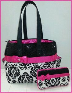 Damask diaper bag. Hot pink. Black sequin. Bow. Wipe case. Tote bag. #Handmade