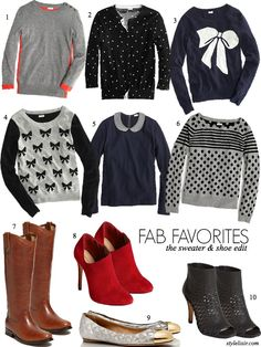 FAB Favorites The Sweater Shoe Edit Polka Dots Stripes Grey Bows Color Block Trends Winter Fall Fashion Style Blog Style Elixir Tall Tan Rid...