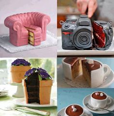Never Judge a Cake by its Cover.Amazing cakes, works of art! Unique Cakes, Creative Cakes, Creative Food, Creative Ideas, Beautiful Cakes, Amazing Cakes, Camera Cakes, Bon Dessert, Dessert Food