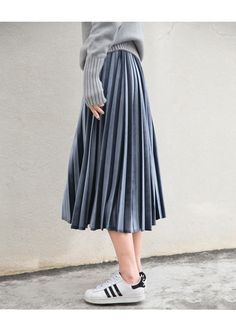 Metallic Pleated High Waist Elascity Midi Skirt - FashionandLove.com