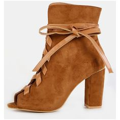 e11fe395906f Leather Lace Ankle Booties CHESTNUT ($39) ❤ liked on Polyvore featuring  shoes, boots · Leather High Heel ...