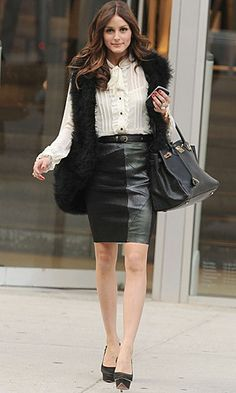 Olivia Palermo gave faux fur a formal edge by keeping her palette monochrome. Her slightly twee pussybow blouse was given a sexy lift with a tactile leather pencil skirt and her fabulous oversized black shaggy gilet. www.pertlybeast.com