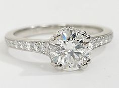 I would say yes to this!  Sarah j !  Capture your lasting love with this stunning platinum double-prong engagement ring that showcases an elegant drape of pavé-set diamonds around your center stone, along the subtly tapered shank, and inside the gallery for a captivating look.