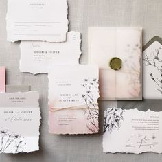 Luxury wedding invitations with straight edge or 'natural' 'torn edge. Beautiful and classic. Delicate watercolours combined with mixed textures and stunning ink etchings. The wax seal, vellum wrap... #weddinginvitation