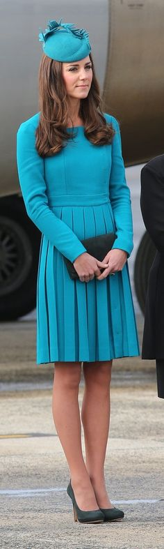 Kate Middleton in a Teal Emilia Wickstead Dress