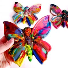 Recycled Crayons - Rainbow Butterfly  Crayon - 1 Large. $6.00, via Etsy.
