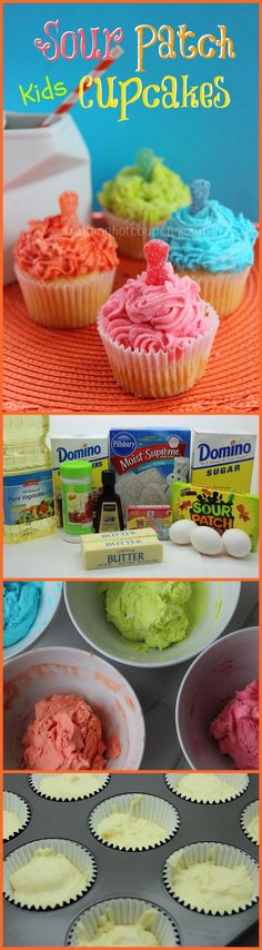 First they're sour. Yummy Treats, Delicious Desserts, Sweet Treats, Yummy Food, Kid Cupcakes, Cupcake Cakes, Birthday Cupcakes, Cupcake Recipes, Dessert Recipes