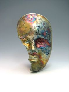 """this is one of my rakued mask. this mask is featured in the Lark Publishing book """"500 Raku"""""""