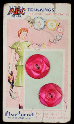 Antique Carved Pink Pearl MOP Buttons ON Original Color Graphic Store Card, ABC